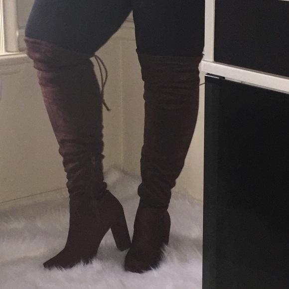 de2ba7a6295 (NWOT) Tall Faux-Suede Heeled Boots (Dk. Brown)